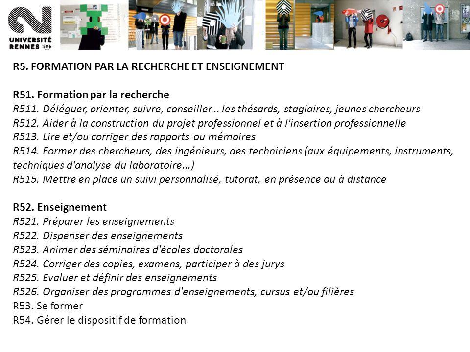 R5. FORMATION PAR LA RECHERCHE ET ENSEIGNEMENT