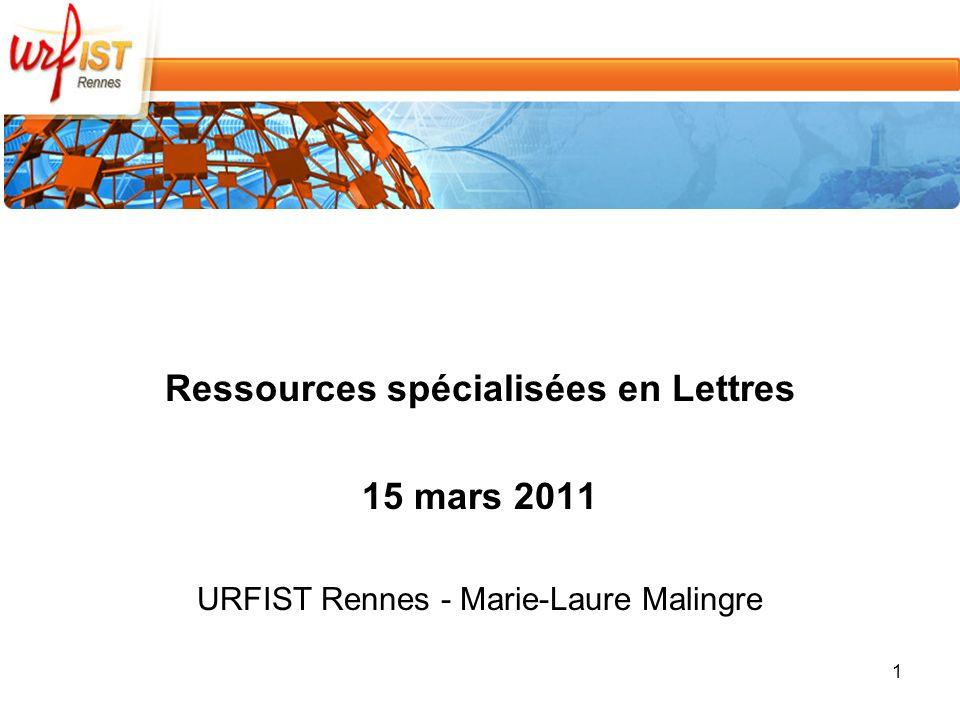 Ressources spécialisées en Lettres