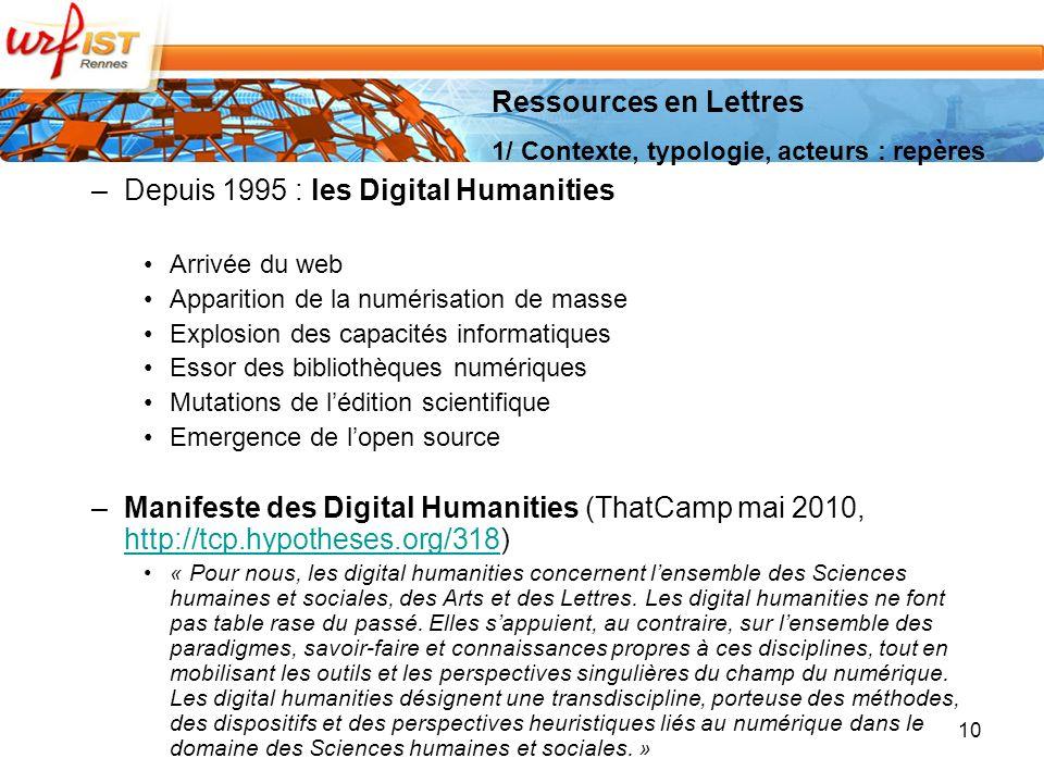 Depuis 1995 : les Digital Humanities
