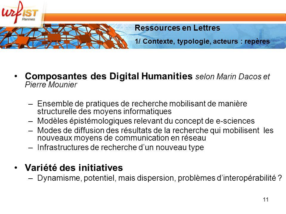 Composantes des Digital Humanities selon Marin Dacos et Pierre Mounier