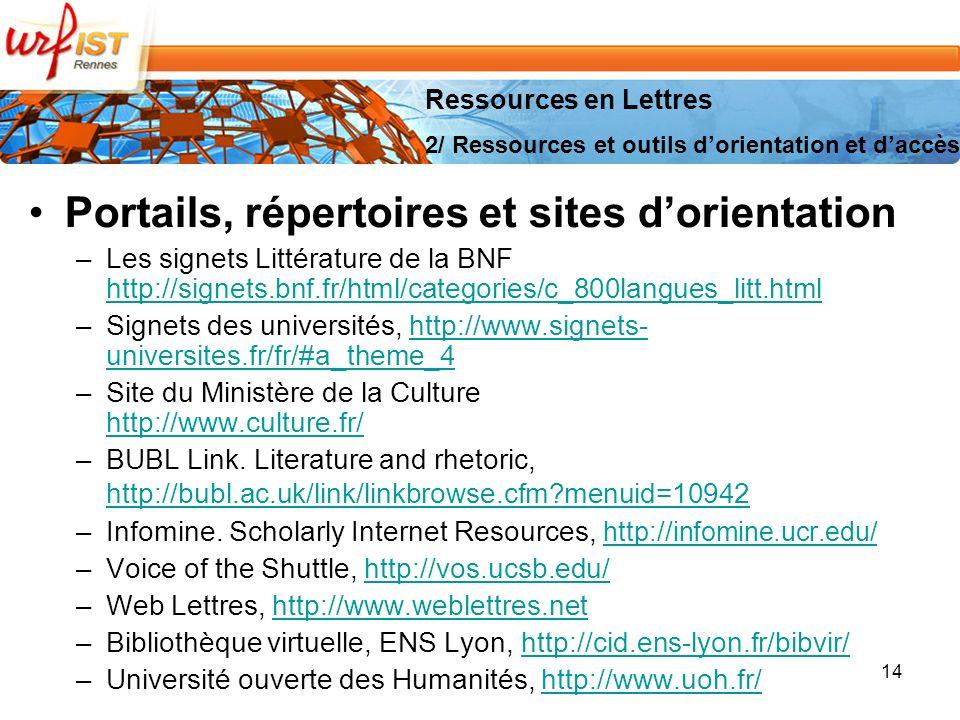 Portails, répertoires et sites d'orientation