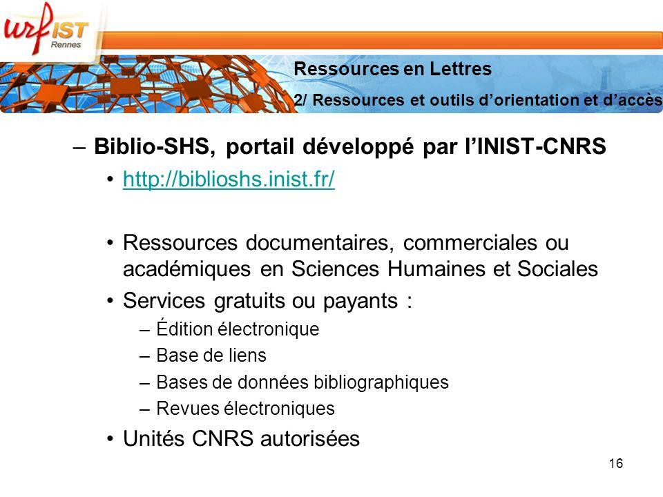 Biblio-SHS, portail développé par l'INIST-CNRS