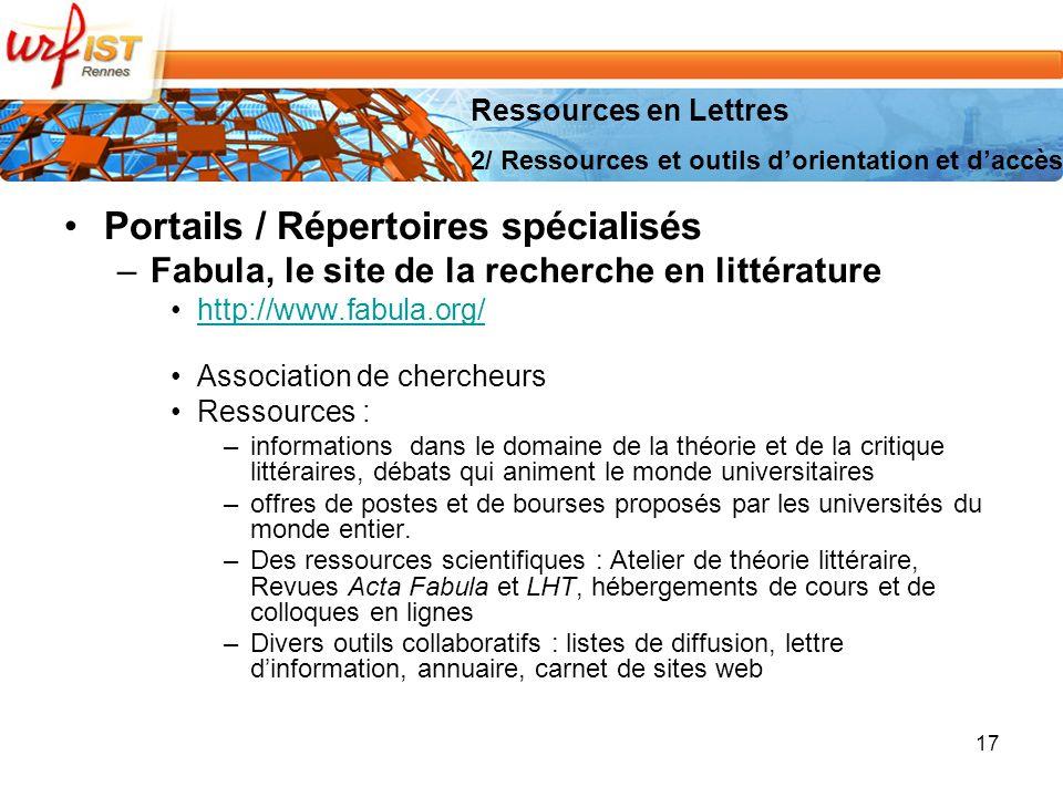 Portails / Répertoires spécialisés