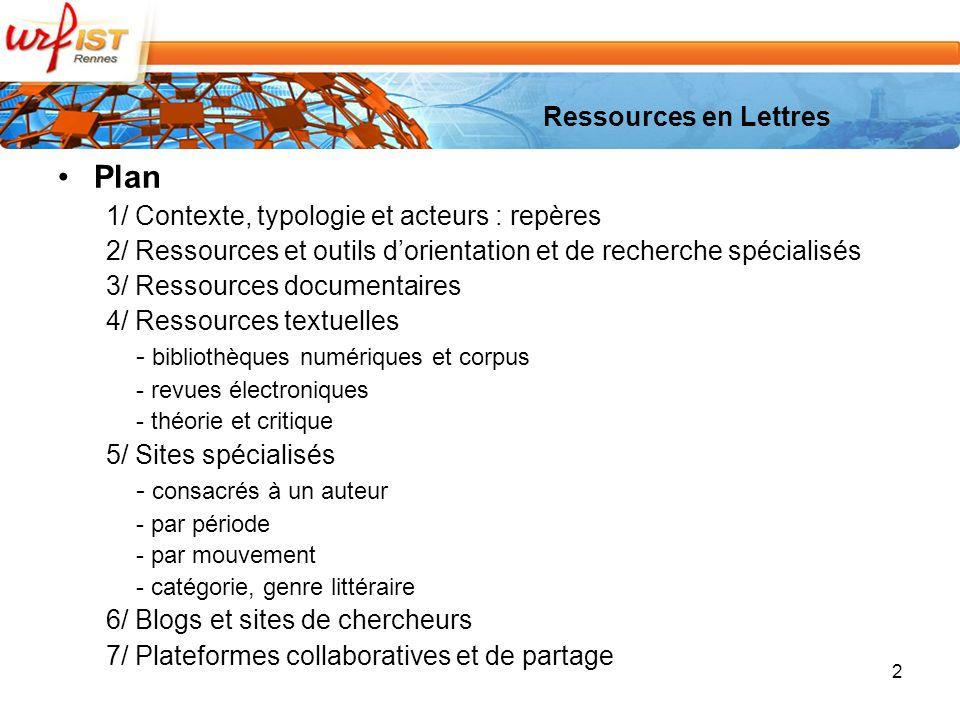 Plan Ressources en Lettres 1/ Contexte, typologie et acteurs : repères