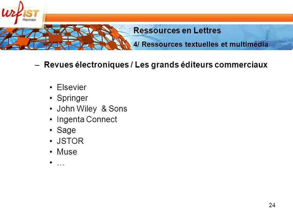 Revues électroniques / Les grands éditeurs commerciaux Elsevier