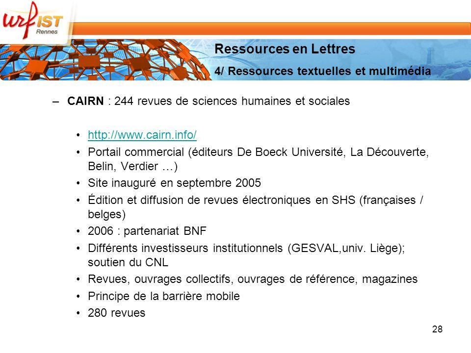 Ressources en Lettres 4/ Ressources textuelles et multimédia