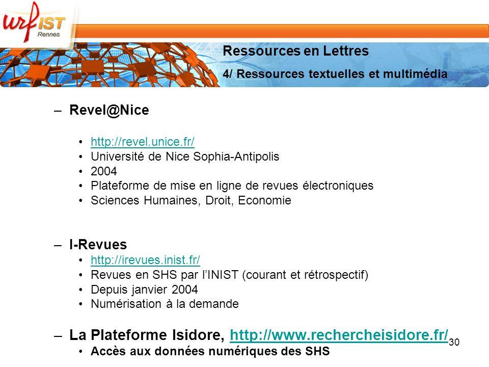 La Plateforme Isidore, http://www.rechercheisidore.fr/