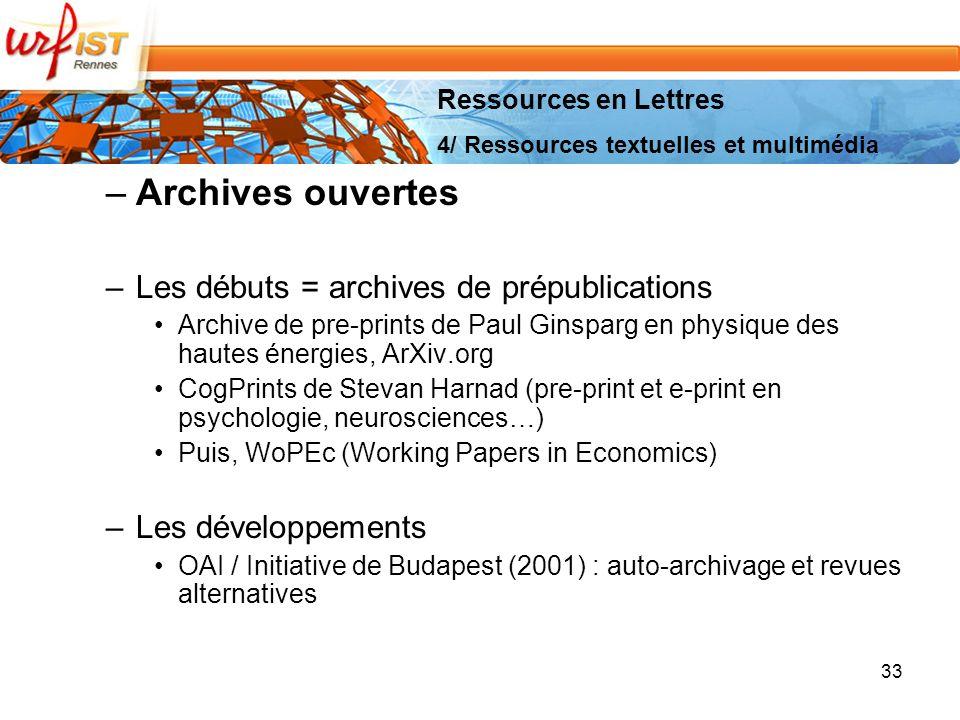 Archives ouvertes Les débuts = archives de prépublications