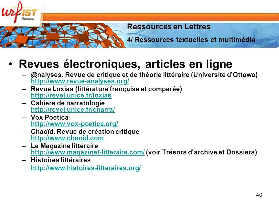 Revues électroniques, articles en ligne