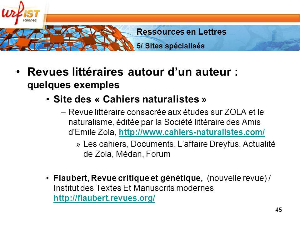 Revues littéraires autour d'un auteur : quelques exemples