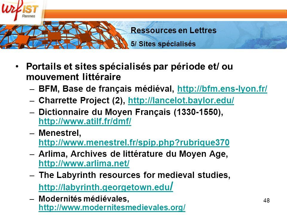 Portails et sites spécialisés par période et/ ou mouvement littéraire