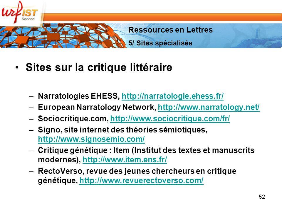 Sites sur la critique littéraire