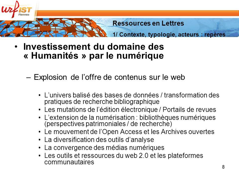 Investissement du domaine des « Humanités » par le numérique