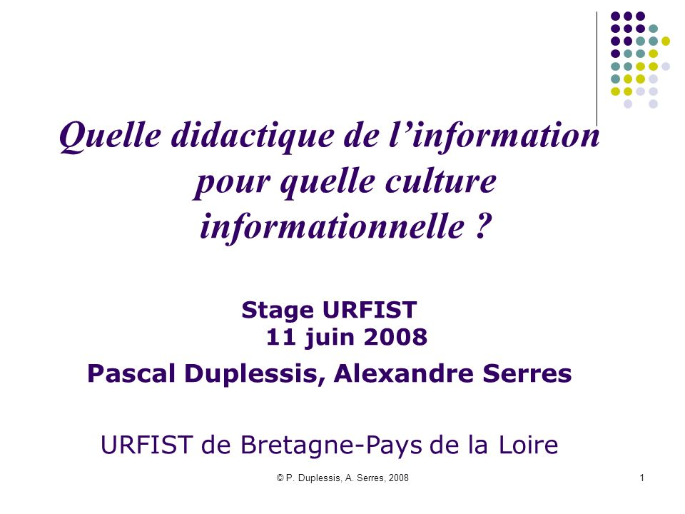 Quelle didactique de l'information pour quelle culture informationnelle