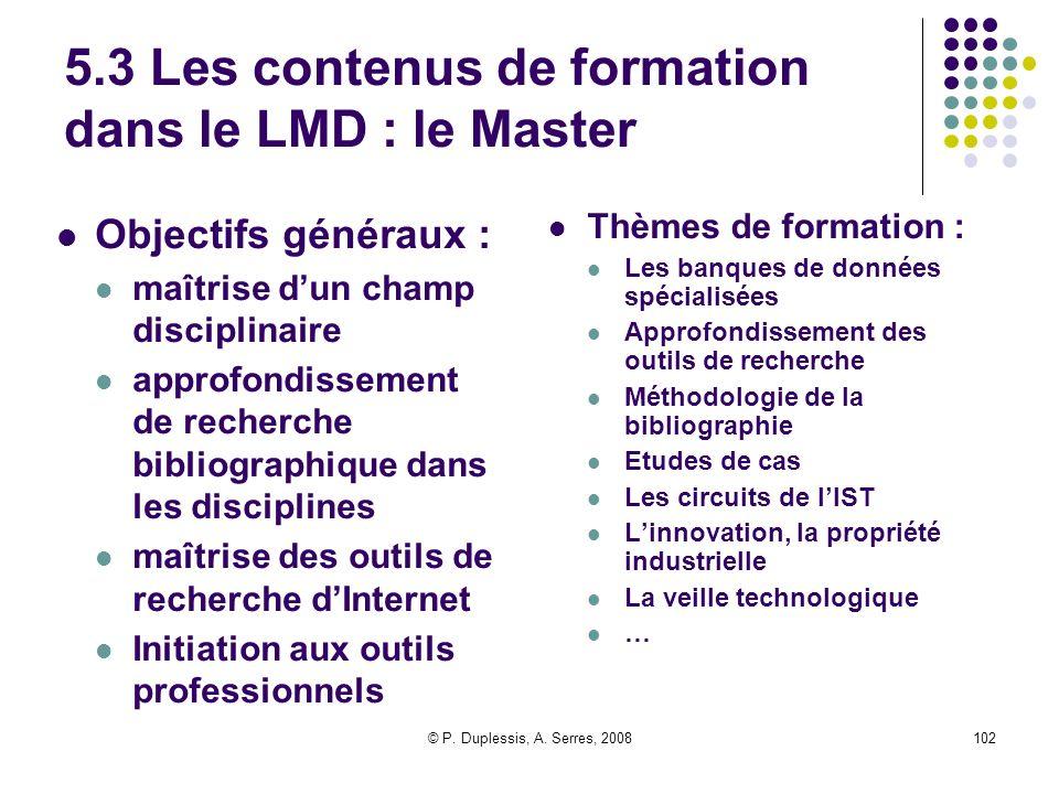 5.3 Les contenus de formation dans le LMD : le Master