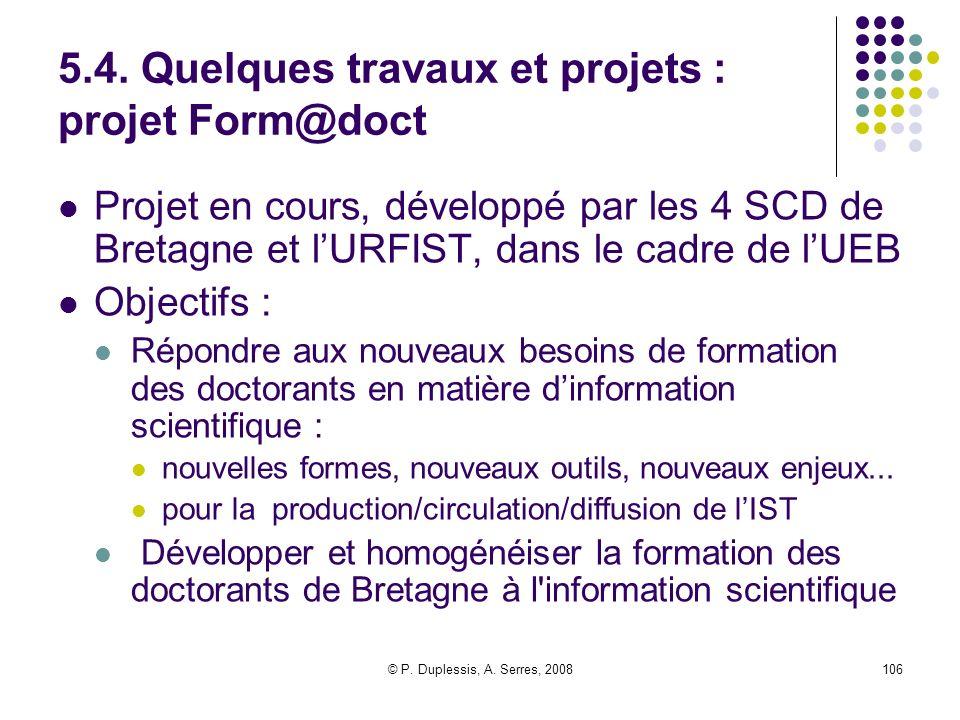 5.4. Quelques travaux et projets : projet Form@doct