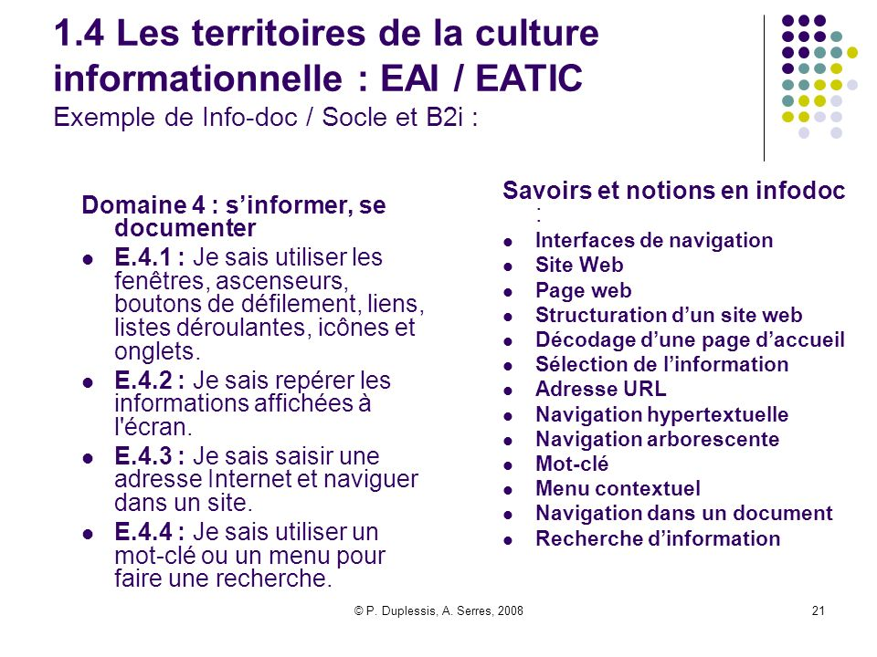1.4 Les territoires de la culture informationnelle : EAI / EATIC Exemple de Info-doc / Socle et B2i :
