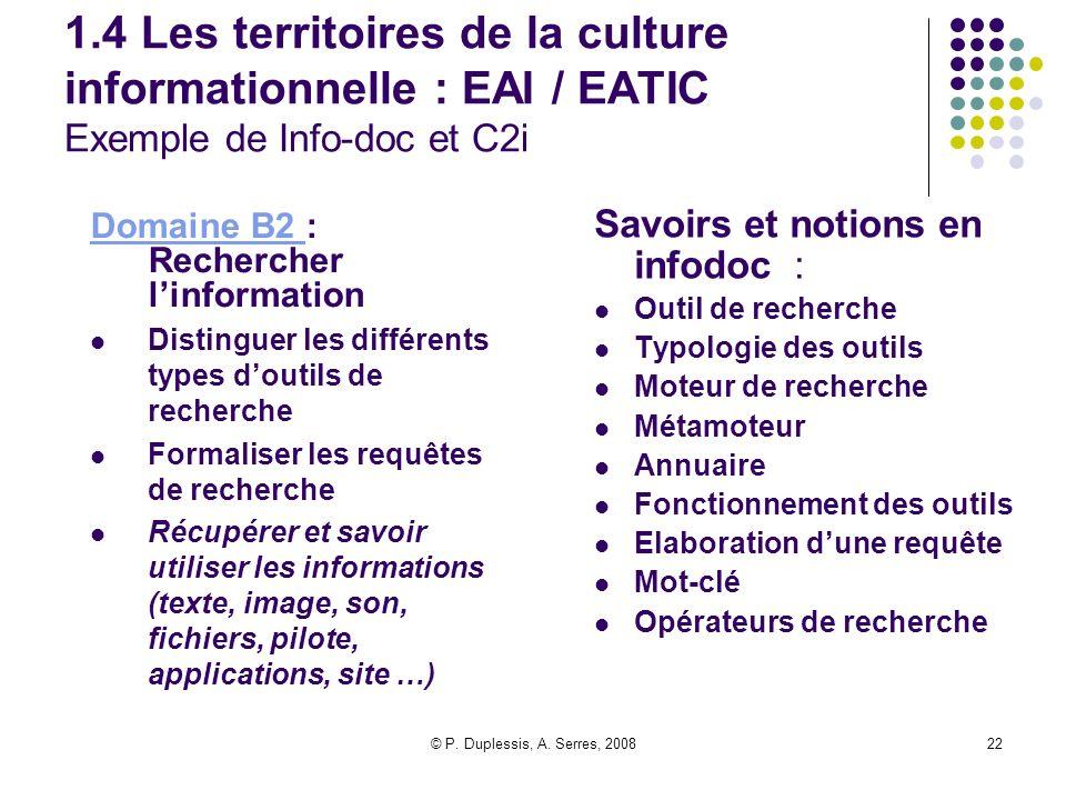 1.4 Les territoires de la culture informationnelle : EAI / EATIC Exemple de Info-doc et C2i