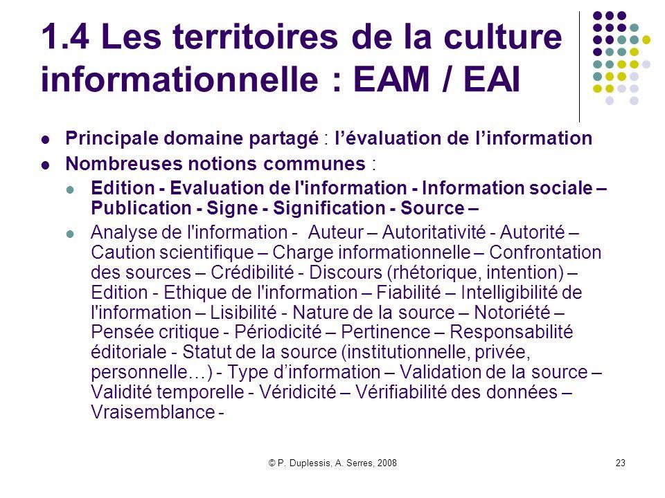 1.4 Les territoires de la culture informationnelle : EAM / EAI