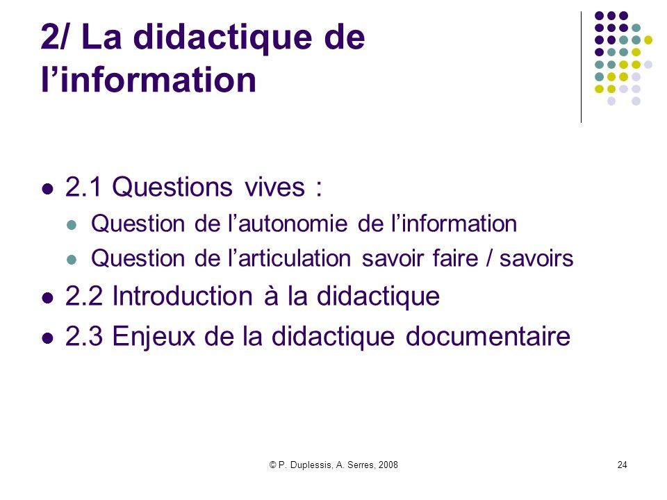 2/ La didactique de l'information
