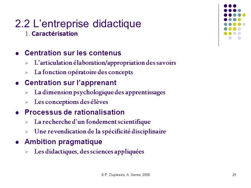 2.2 L'entreprise didactique 1. Caractérisation