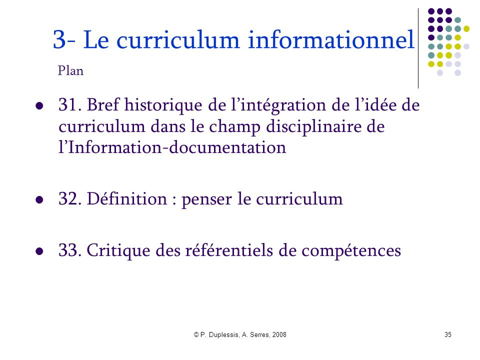 3- Le curriculum informationnel Plan