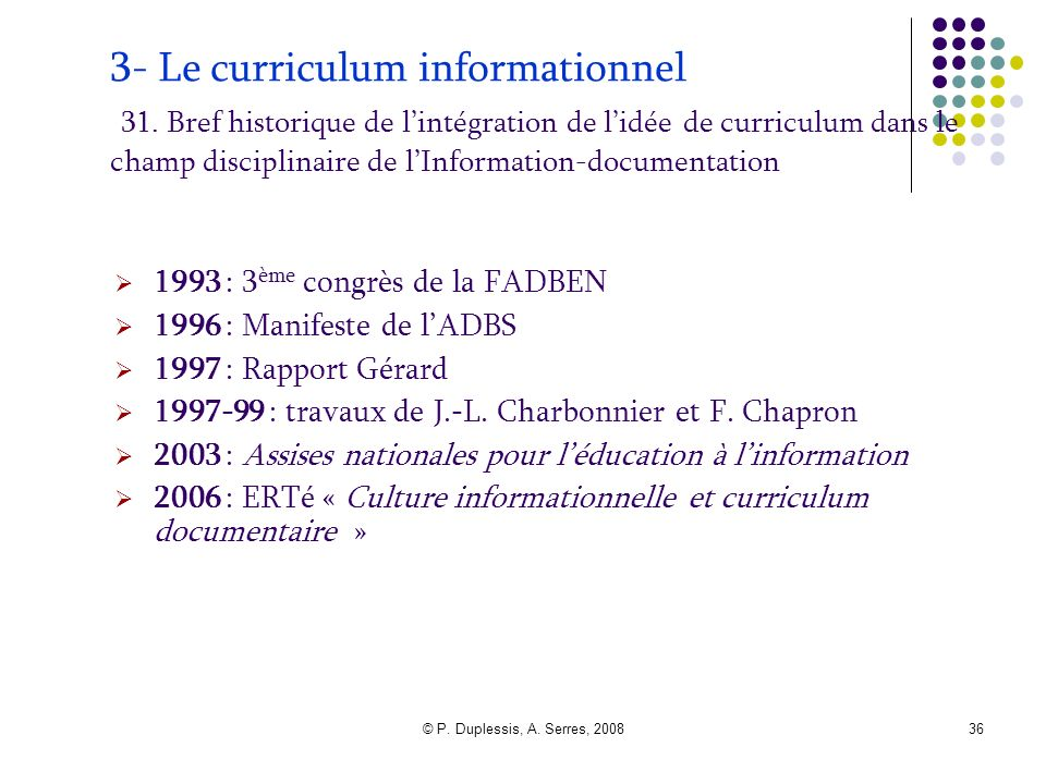 3- Le curriculum informationnel 31