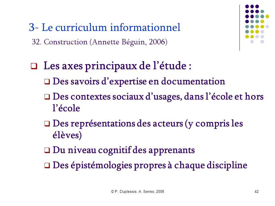 Les axes principaux de l'étude :