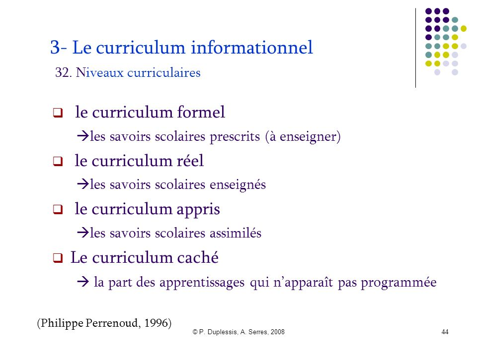 3- Le curriculum informationnel 32. Niveaux curriculaires