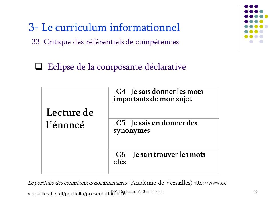 3- Le curriculum informationnel 33
