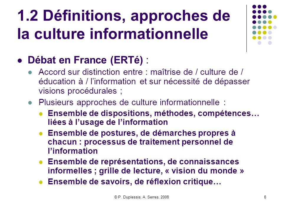 1.2 Définitions, approches de la culture informationnelle
