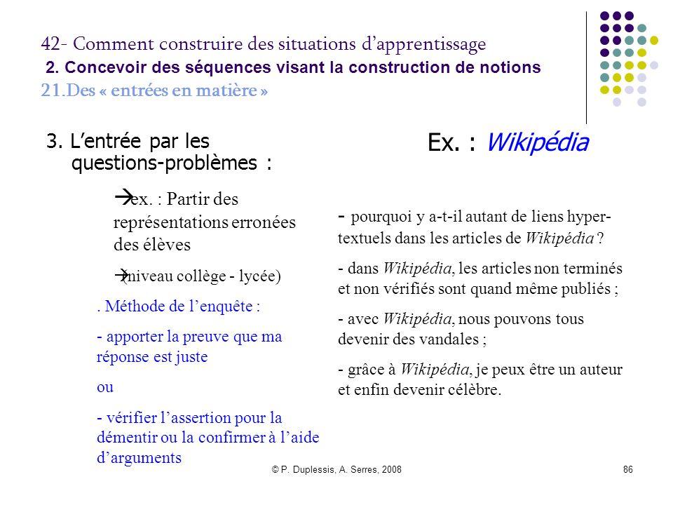 Ex. : Wikipédia ex. : Partir des représentations erronées des élèves