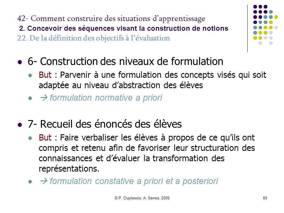 6- Construction des niveaux de formulation