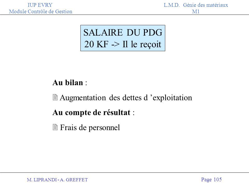 SALAIRE DU PDG 20 KF -> Il le reçoit Au bilan :