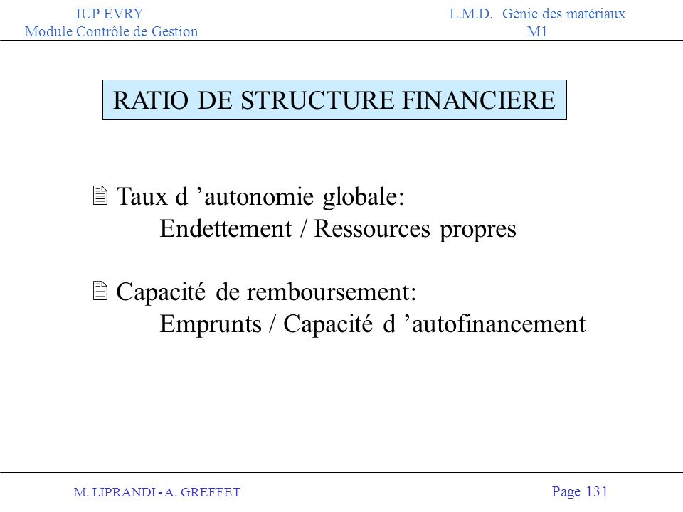 RATIO DE STRUCTURE FINANCIERE