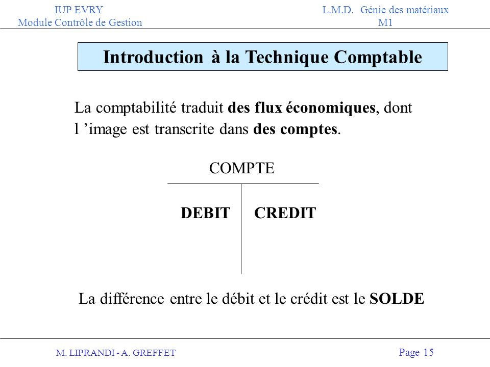 Introduction à la Technique Comptable