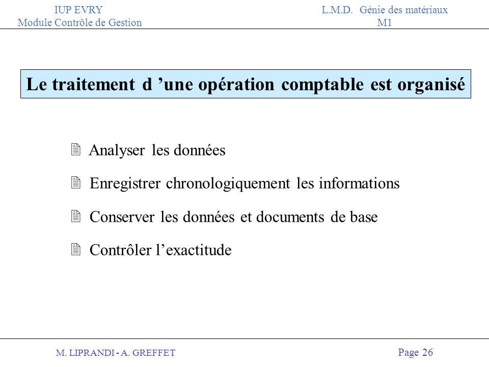Le traitement d 'une opération comptable est organisé
