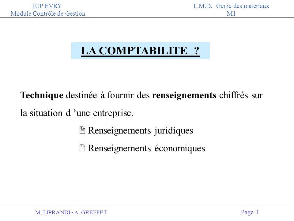 LA COMPTABILITE Technique destinée à fournir des renseignements chiffrés sur la situation d 'une entreprise.