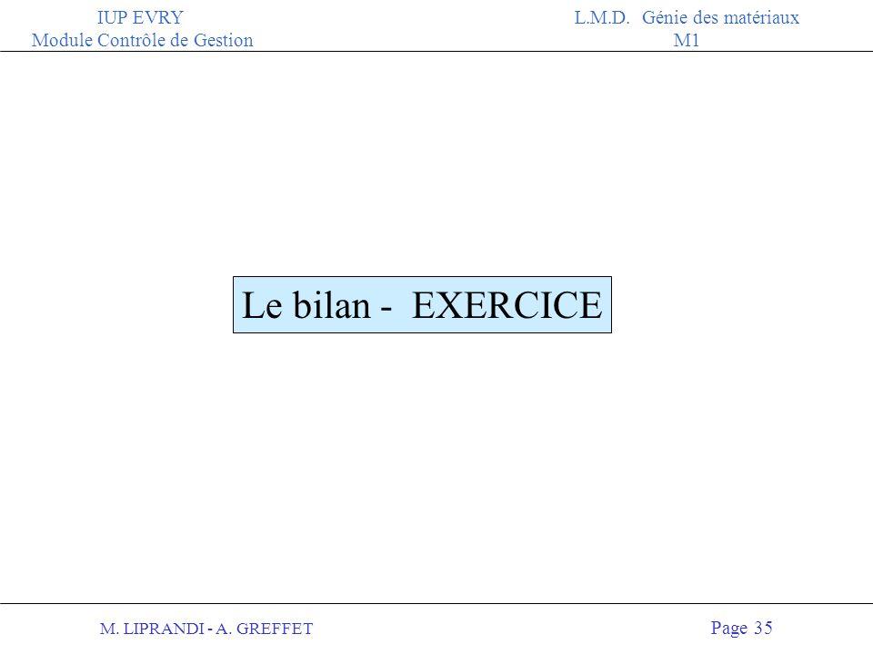 Le bilan - EXERCICE