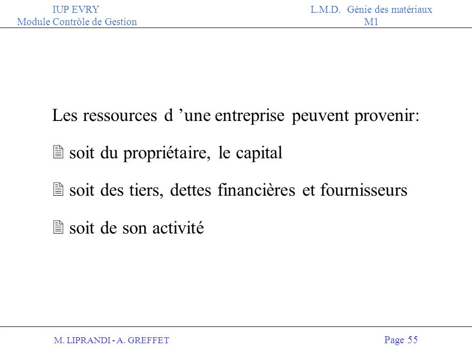 Les ressources d 'une entreprise peuvent provenir: