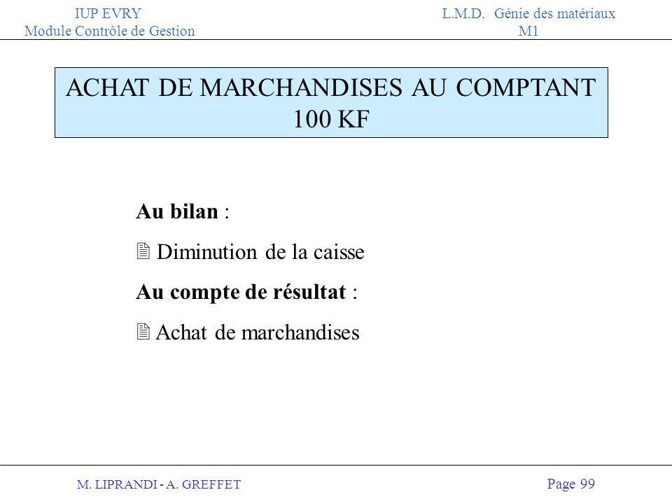 ACHAT DE MARCHANDISES AU COMPTANT