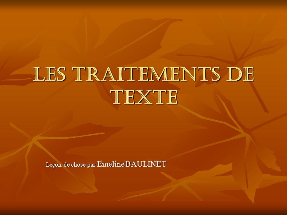 LES TRAITEMENTS DE TEXTE