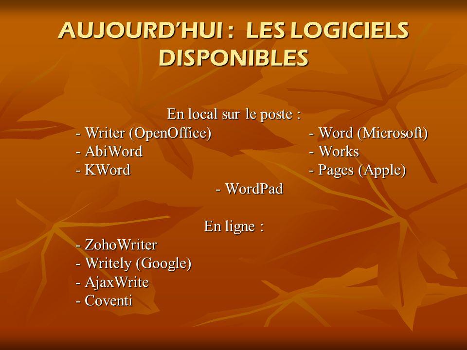 AUJOURD'HUI : LES LOGICIELS DISPONIBLES