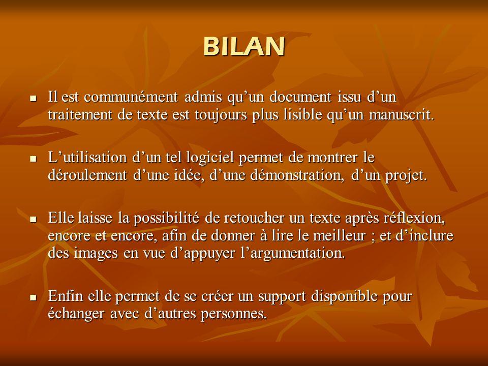 BILAN Il est communément admis qu'un document issu d'un traitement de texte est toujours plus lisible qu'un manuscrit.