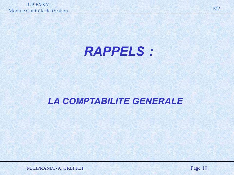 LA COMPTABILITE GENERALE