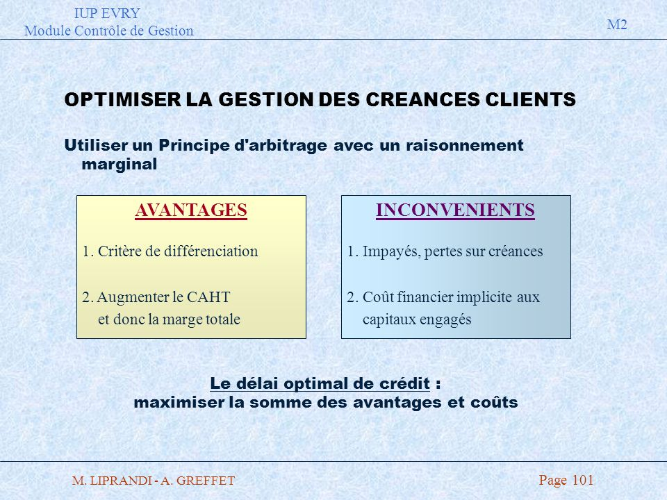 OPTIMISER LA GESTION DES CREANCES CLIENTS