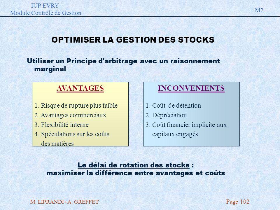 OPTIMISER LA GESTION DES STOCKS