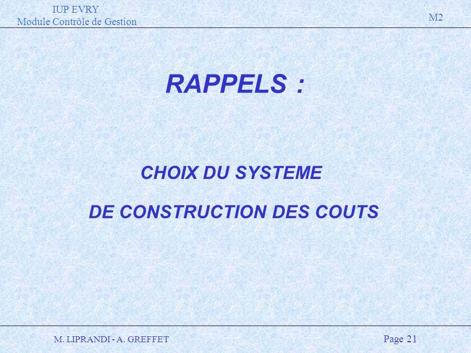 DE CONSTRUCTION DES COUTS