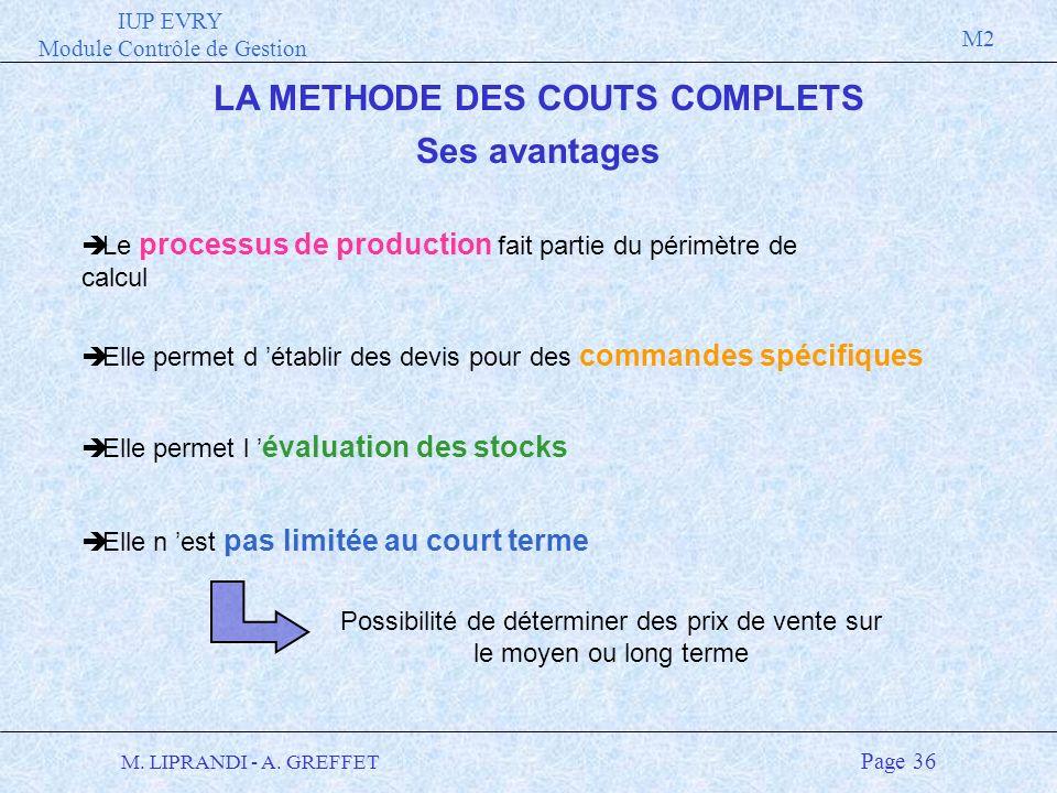 LA METHODE DES COUTS COMPLETS