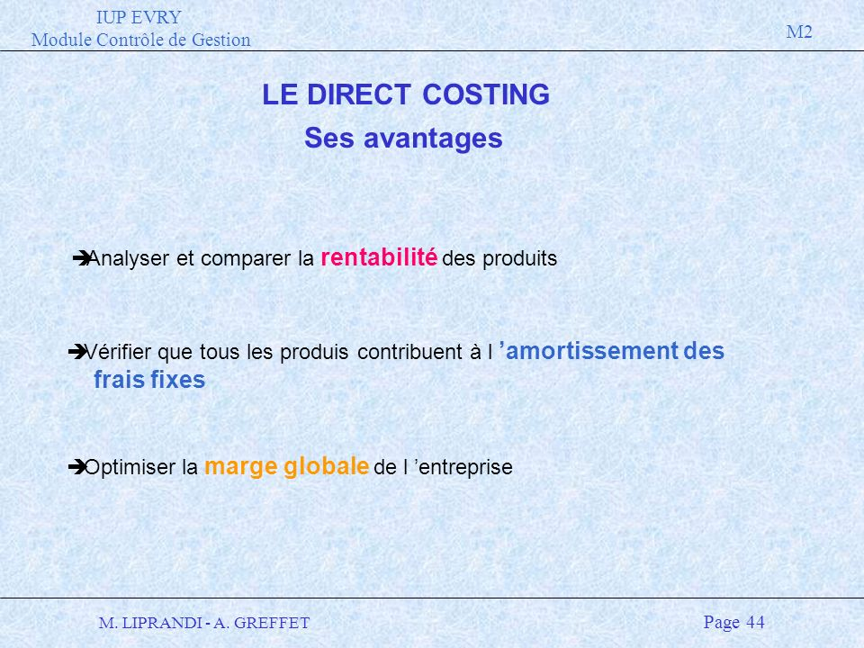 LE DIRECT COSTING Ses avantages
